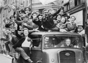 Car full of people in 1940s