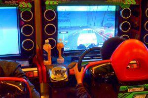 Car racing game being played