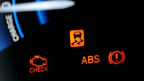 Car dashboard warning lights ABS and check battery