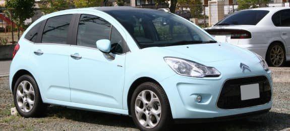 New Citroen C3 blue hatchback car