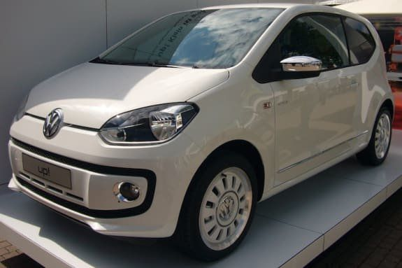 Brand new white Volkswagen Up! City car