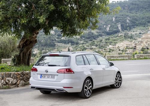Volkswagen Golf Estate parked under a  tree looking out over a valley