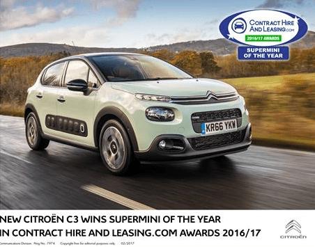 New Citroen C3; winner of supermini of the year award