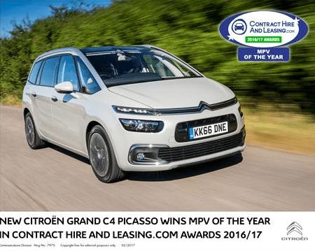 Award winning Citroen Grand C4 Picasso MPV car in white