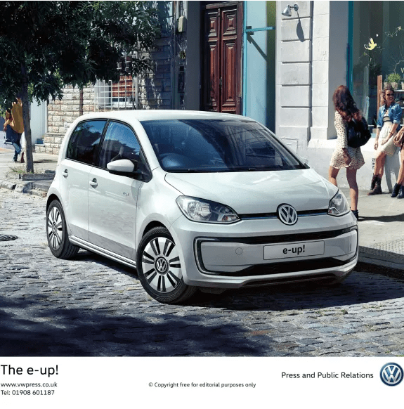 The new VW e-up! Finished in pure white parked up at the shops