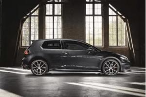 Black 3 door Volkswagen Golf GTI with alloy wheels
