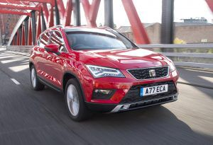 Red SEAT Ateca on the road