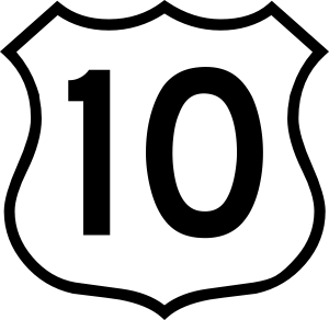 American white road sign with the number 10 inside in black