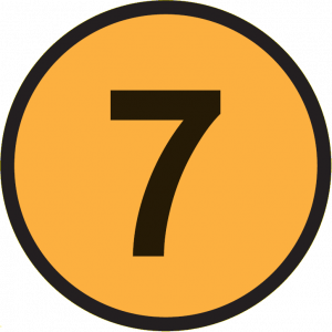 Yellow circle with black number 7 in the centre