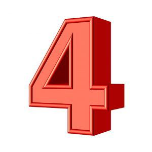 3D number 4 in red with a white background