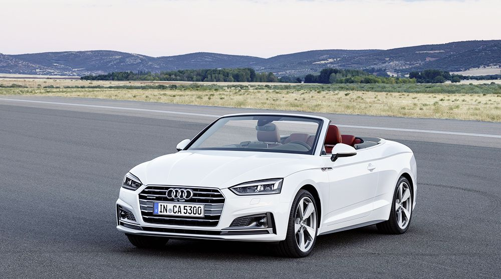White Audi A5 Convertible with roof down