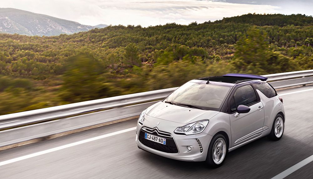 White silver DS3 Cabrio convertible car with roof open
