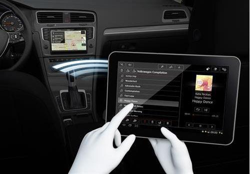 Volkswagen car media control app in use