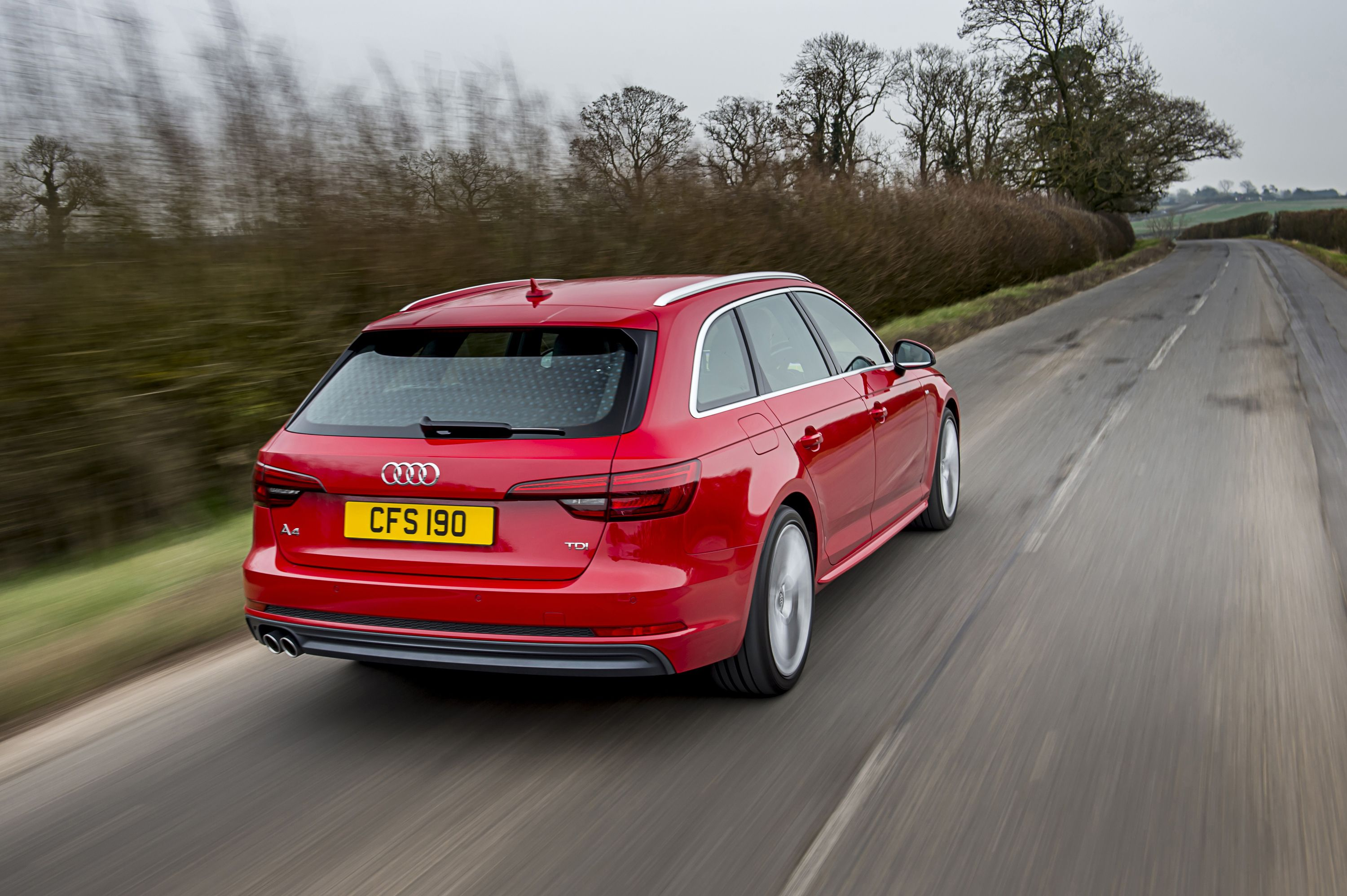 Audi A4 Avant estate car in red from back