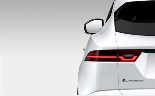 Close up picture of Jaguar e-Pace from the back in white