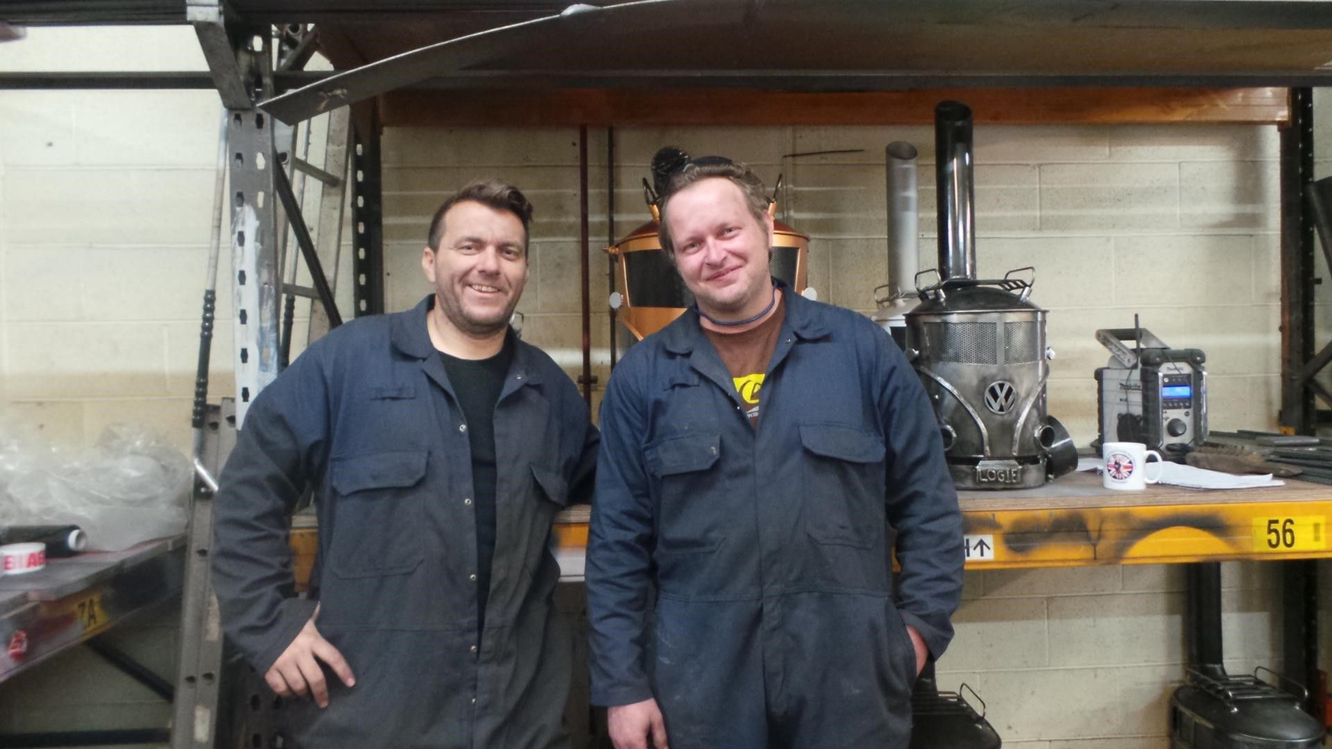 Pete and Shaun, creators of Volkswagen Camper Van log burners