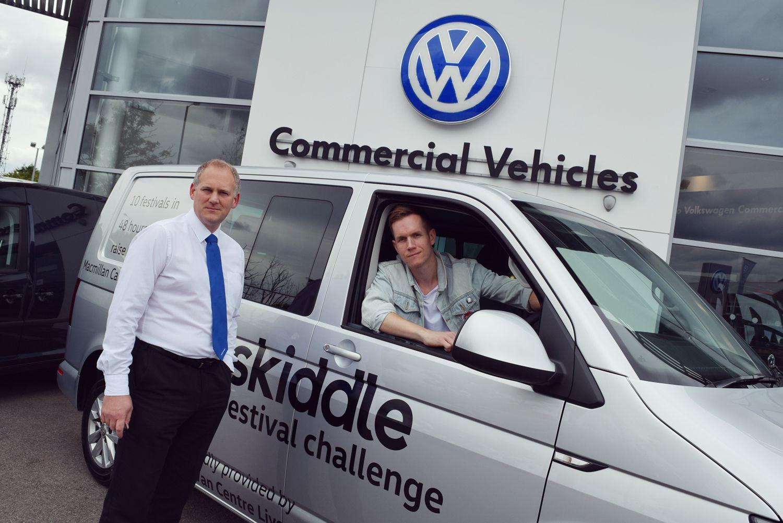Volkswagen Transporter window van parked in front of Volkswagen Van Centre Liverpool