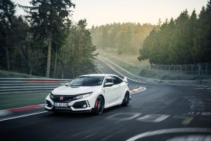 Honda Civic Type R in White on the racetrack