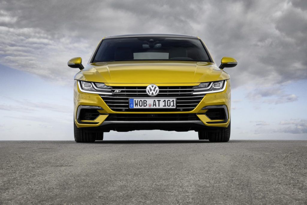 VW Arteon R-Line finished in Turmeric Yellow front view