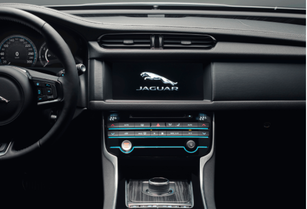 Left hand drive Jaguar with Jaguar logo on the touchscreen
