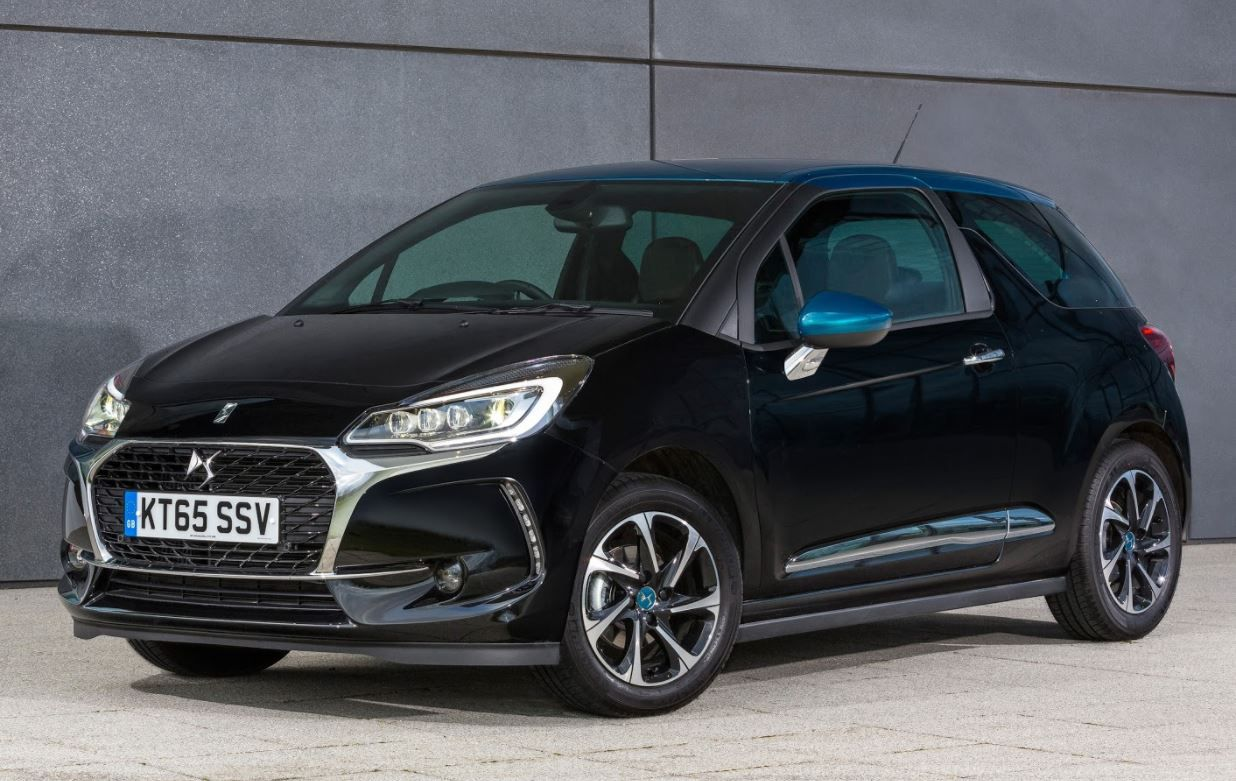 Black DS3 parked next to slate coloured wall