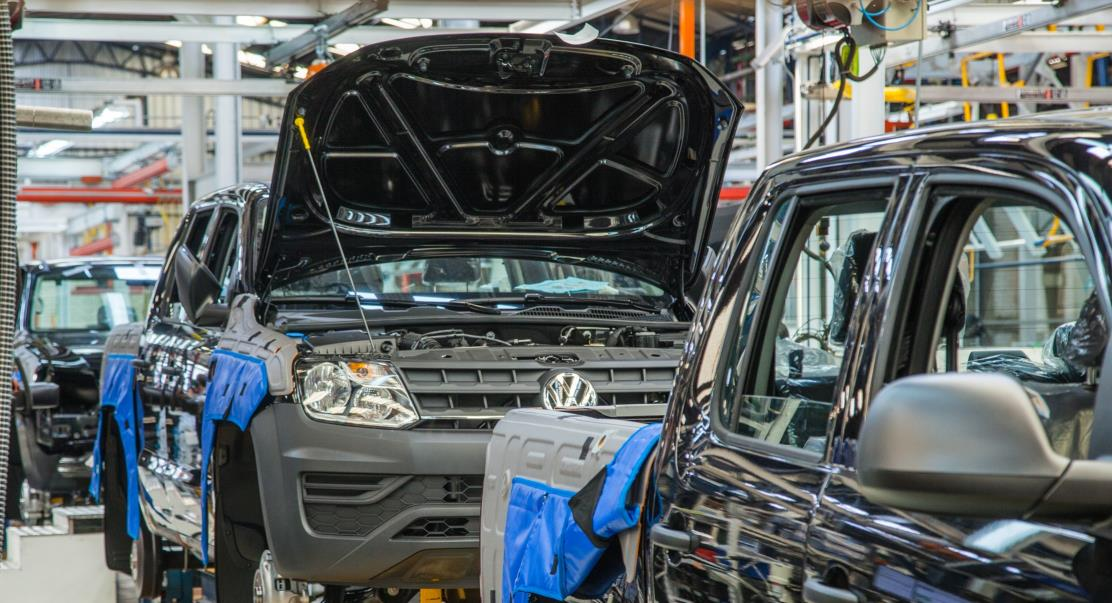 Volkswagen Amarok on a production line being put together with its bonnet up