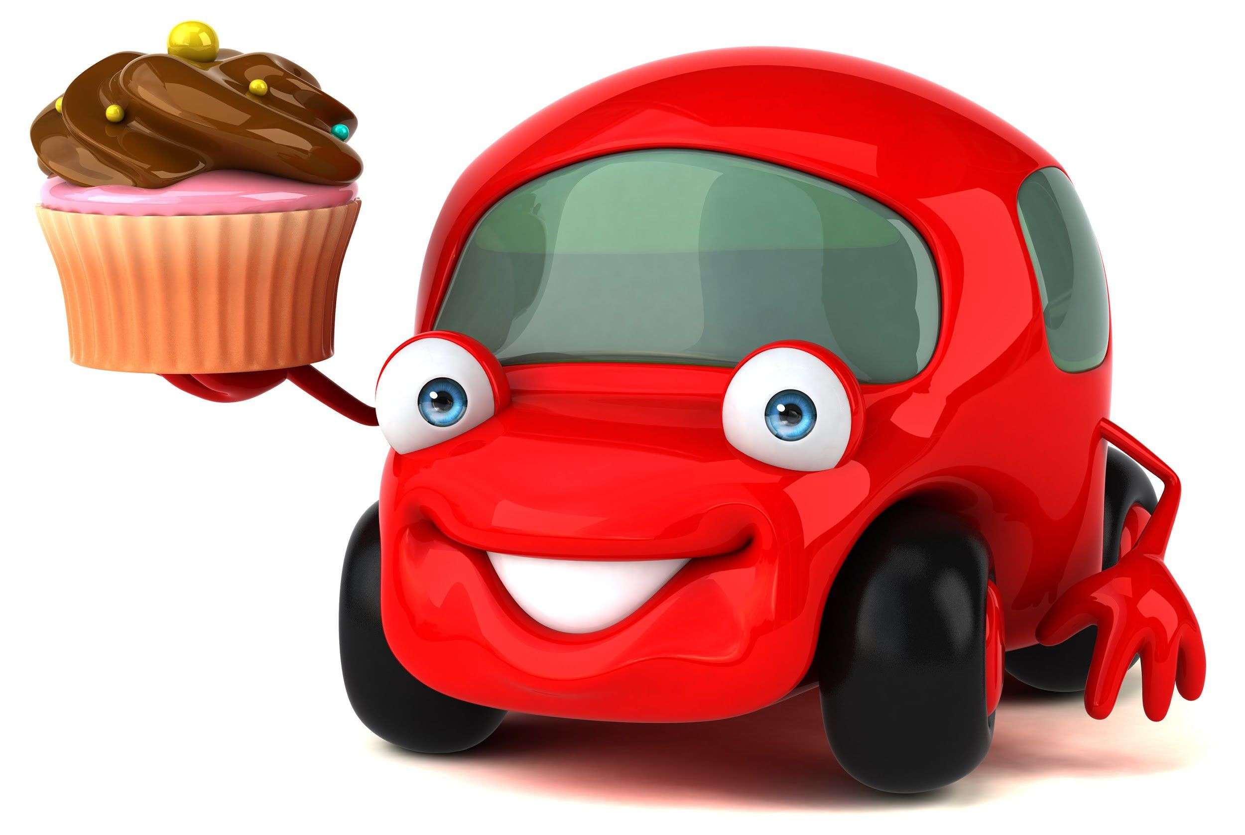 Red animated car holding a cupcake with chocolate icing
