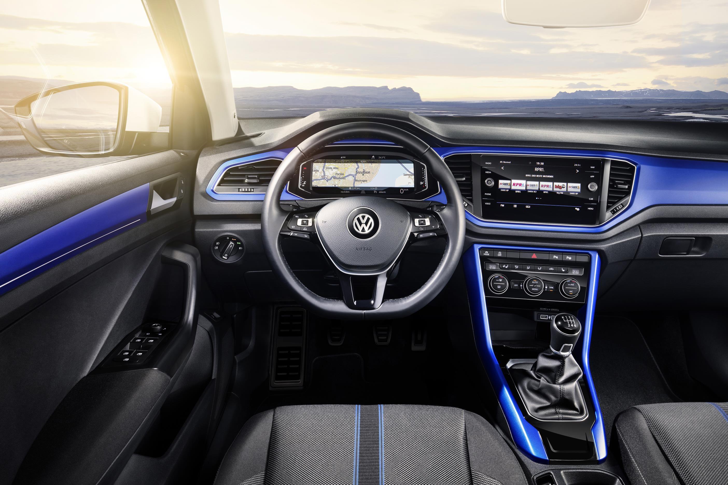 New Volkswagen T-Roc Interior with eye-catching blue dash