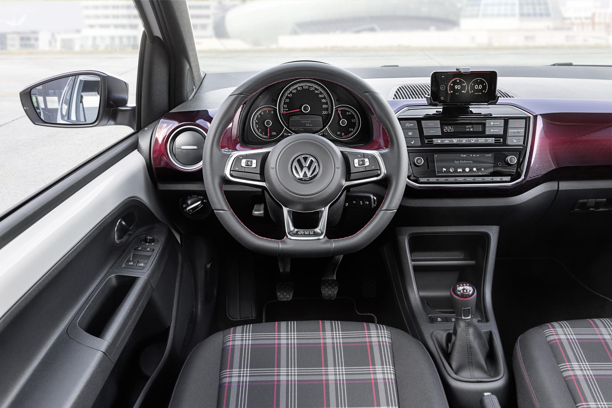 New Volkswagen up! GTI interior with purple check