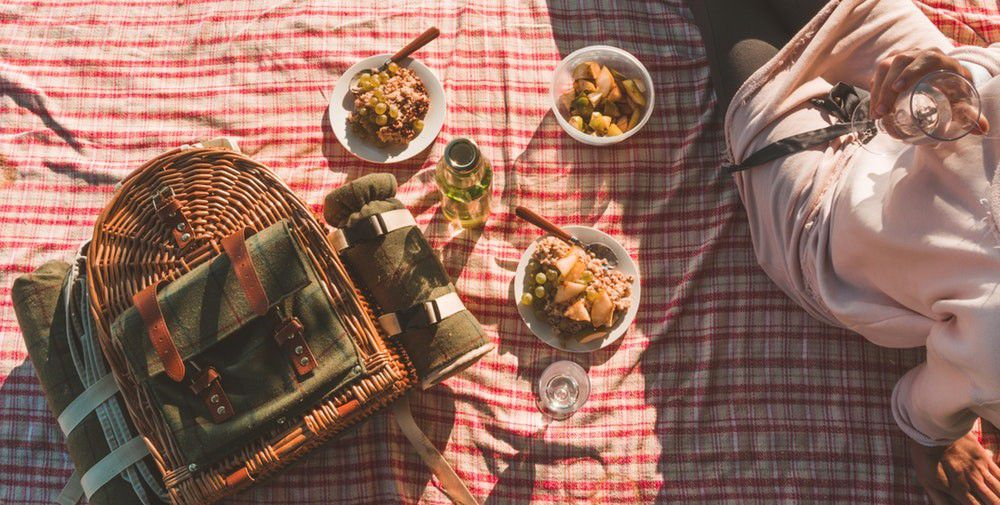 Picnic on a checkered cloth with a wicker hamper