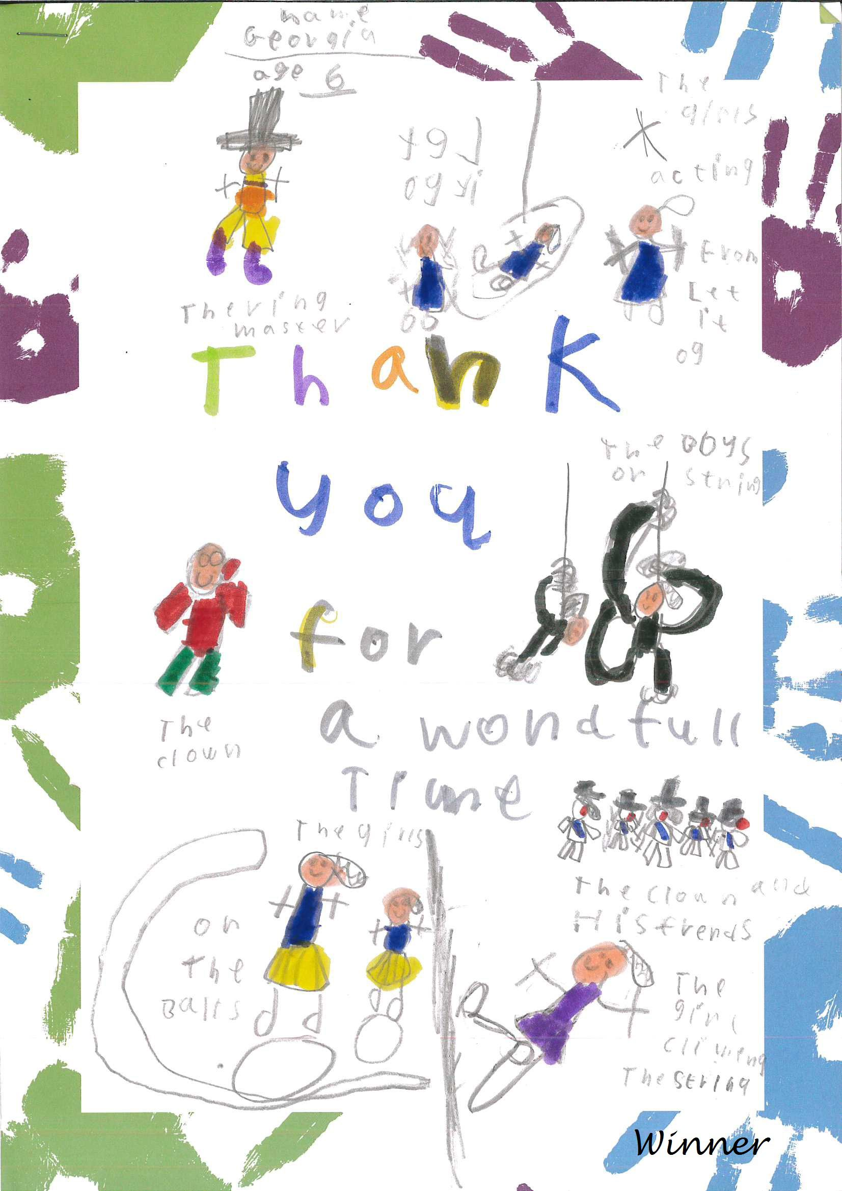 A thank you letter from a little girl to Circus Starr