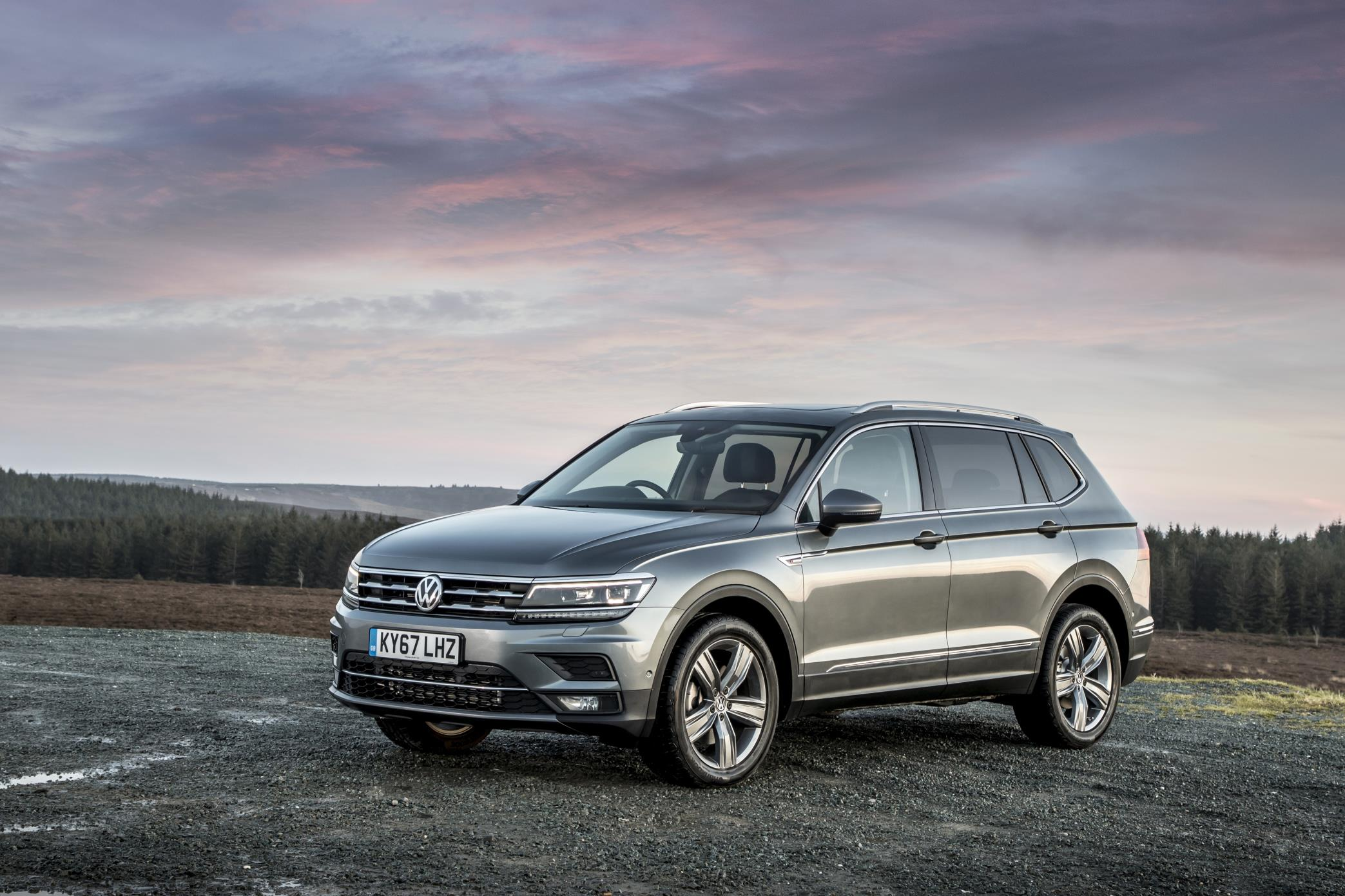 two thirds profile of Volkswagen Tiguan with beautiful sky