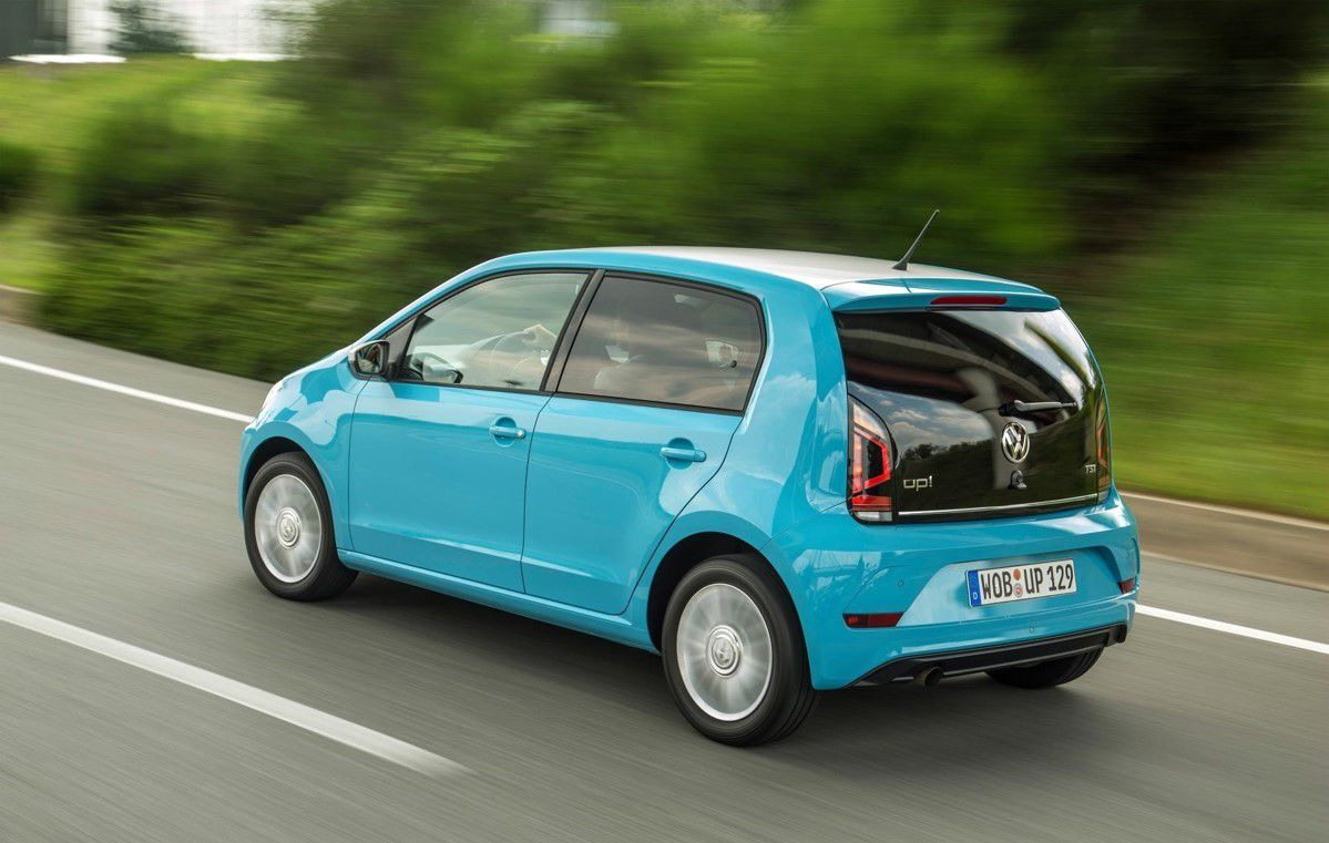 Pale blue 5 door VW Up for sale