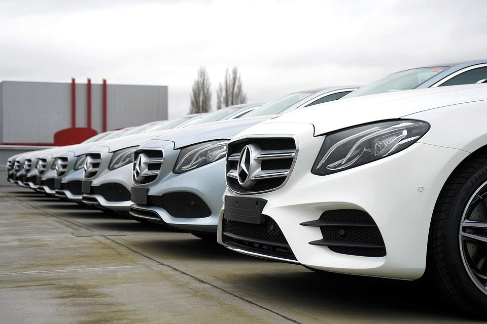 Row of new Mercedes