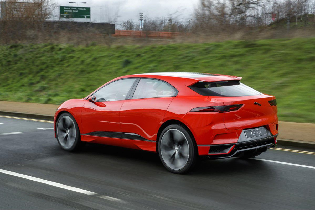Red Jaguar i-pace on the move prior to being launched in the UK