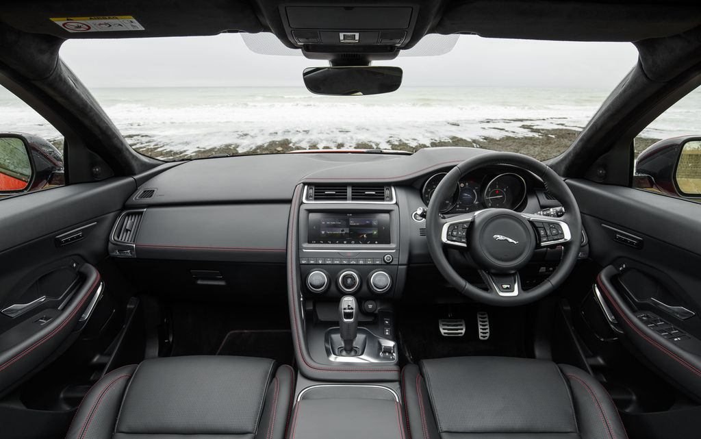 Black leather interior of the Jaguar E-Pace showing infotainment screeen
