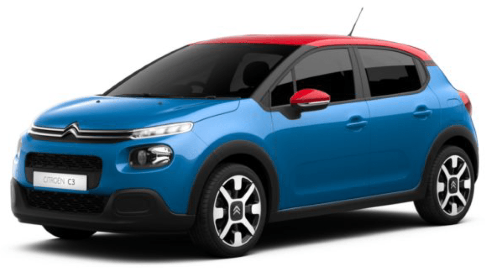 Personalised Citroen C3 in CObalt Blue with a red roof and wing mirrors