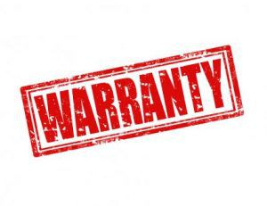 Red warranty as if done by a rubber stamp