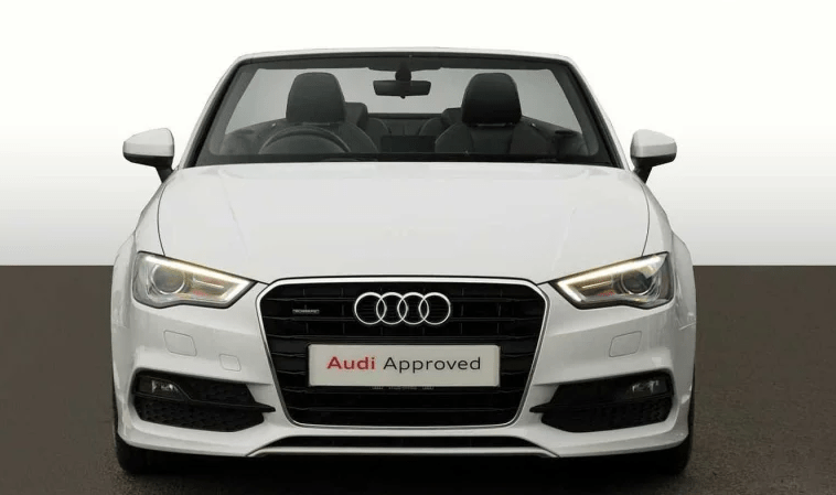 White Approved Used Audi A3 Cabriolet from the front