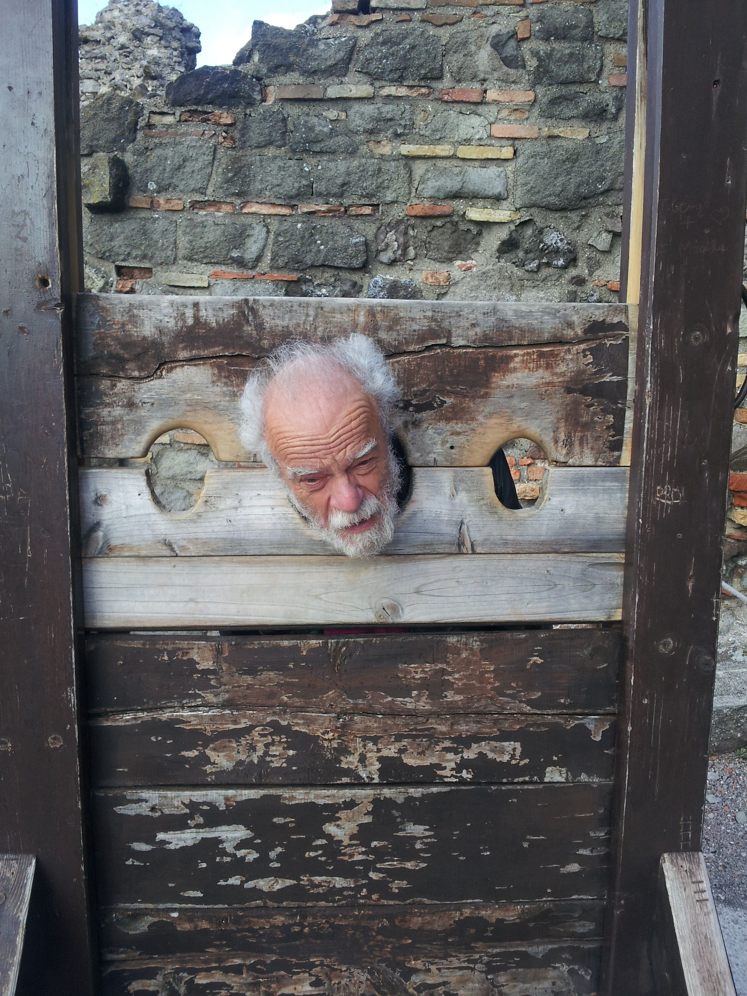 Bearded gentleman in the Stocks at Visagrad Castle