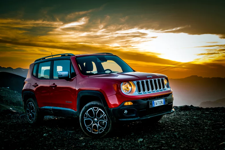Jeep Renegade with beautiful sunset in the background