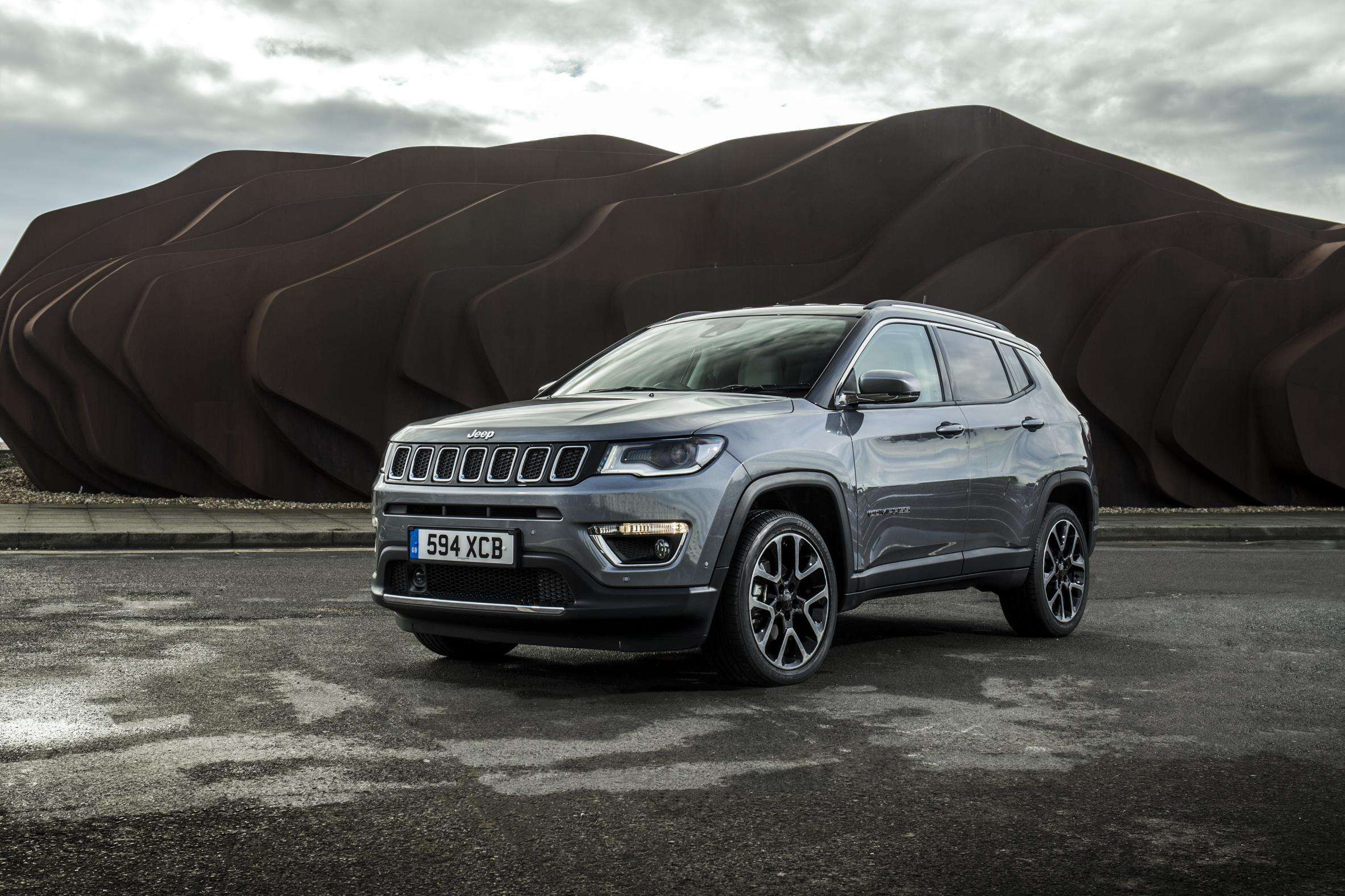 Jeep Compass with hill in the background