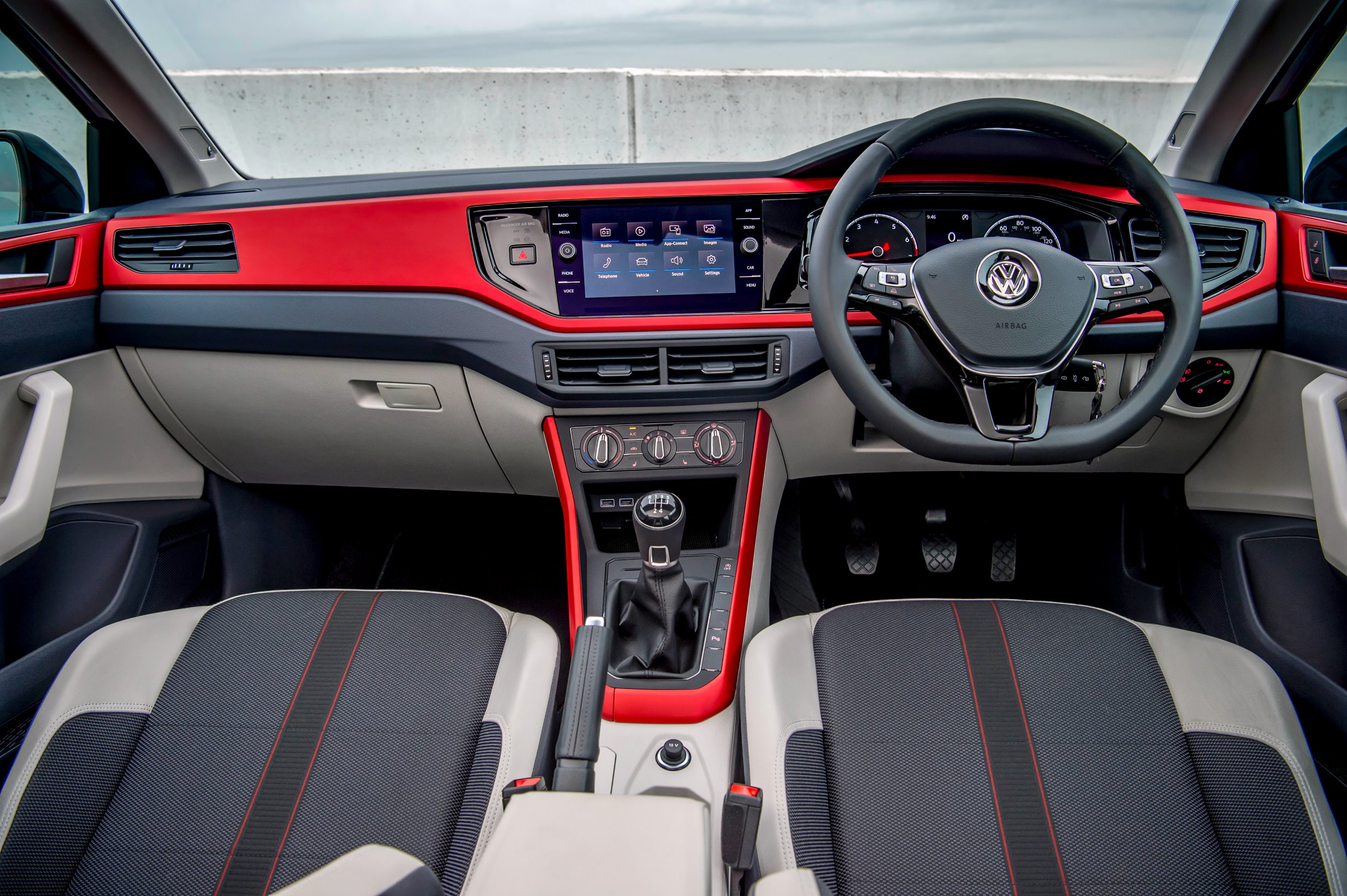 Front interior of new red Volkswagen Polo Beats model