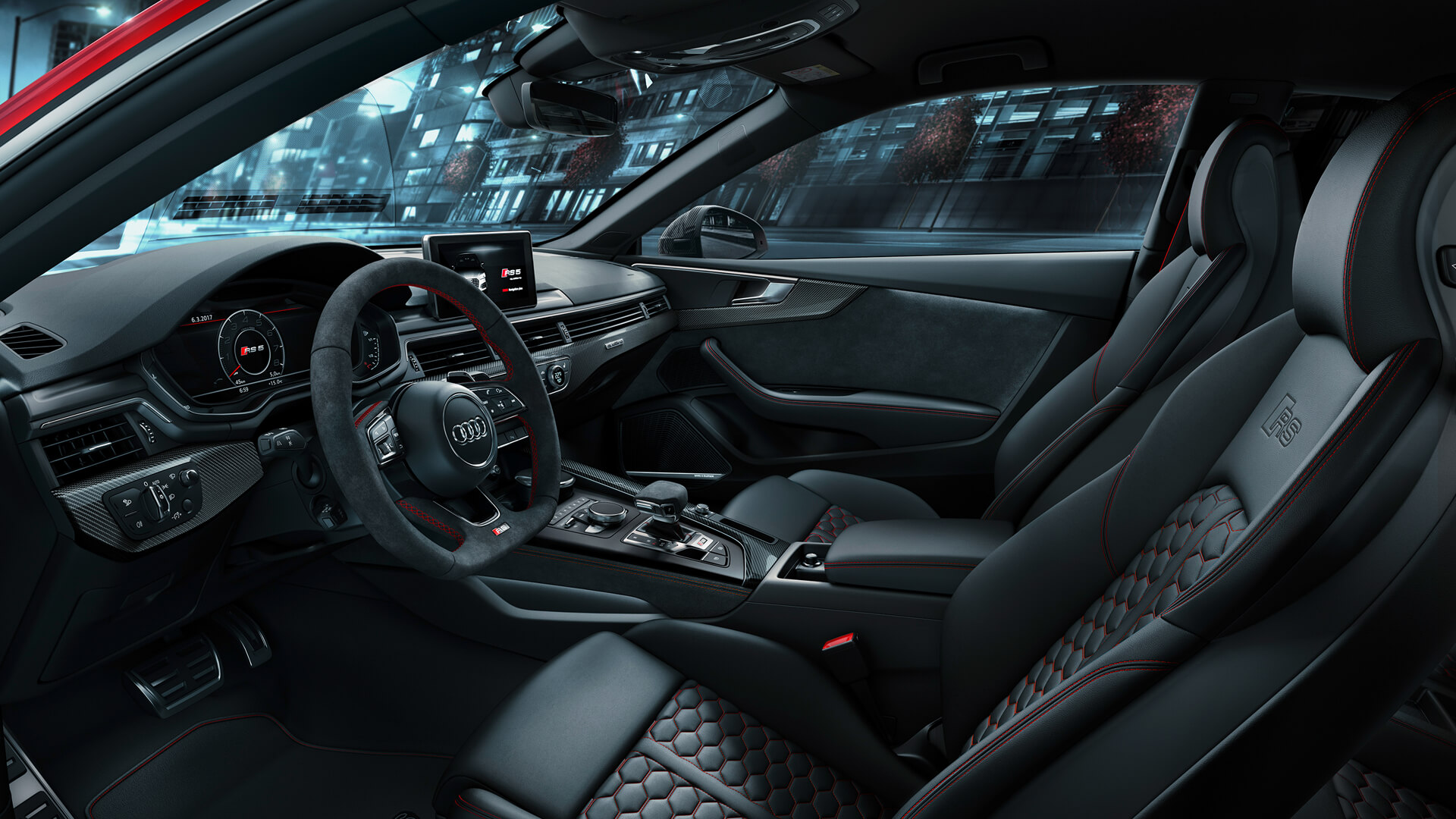 Beautiful leather interior of the new Audi RS5 coupe