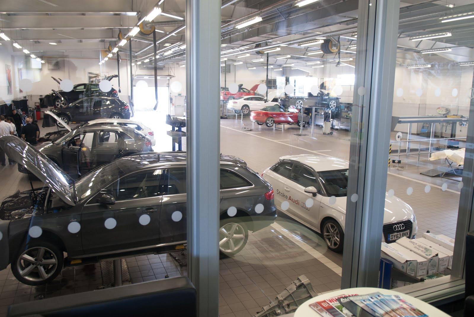 Stoke AUdi workshop seen through the viewing window