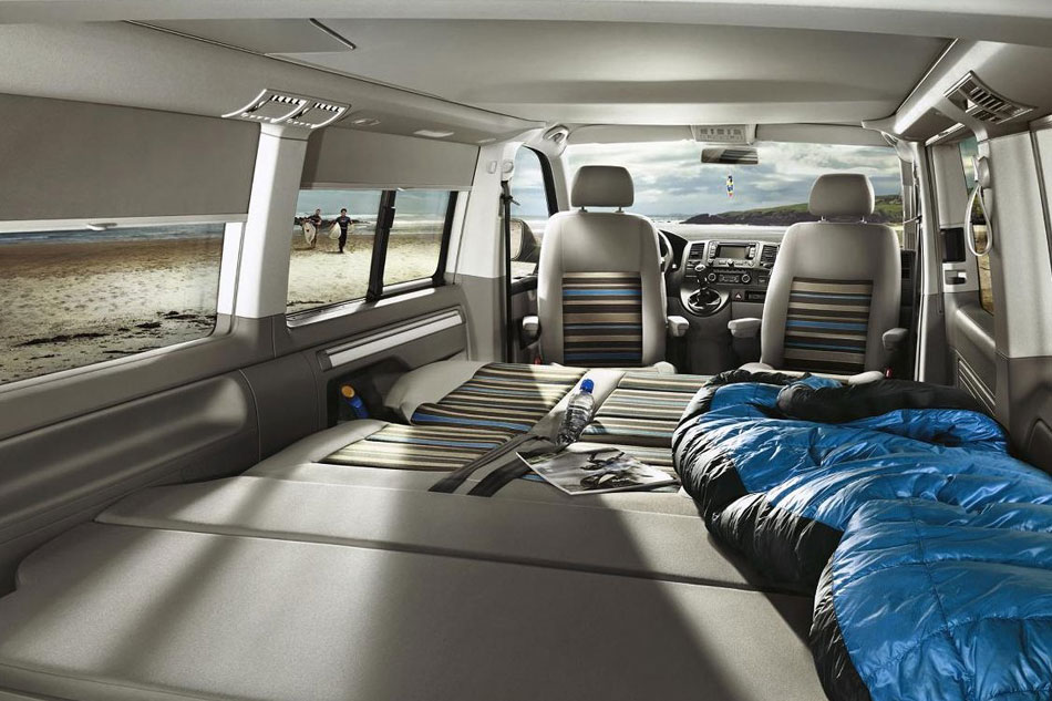 VW California Beach campervan with bed made up