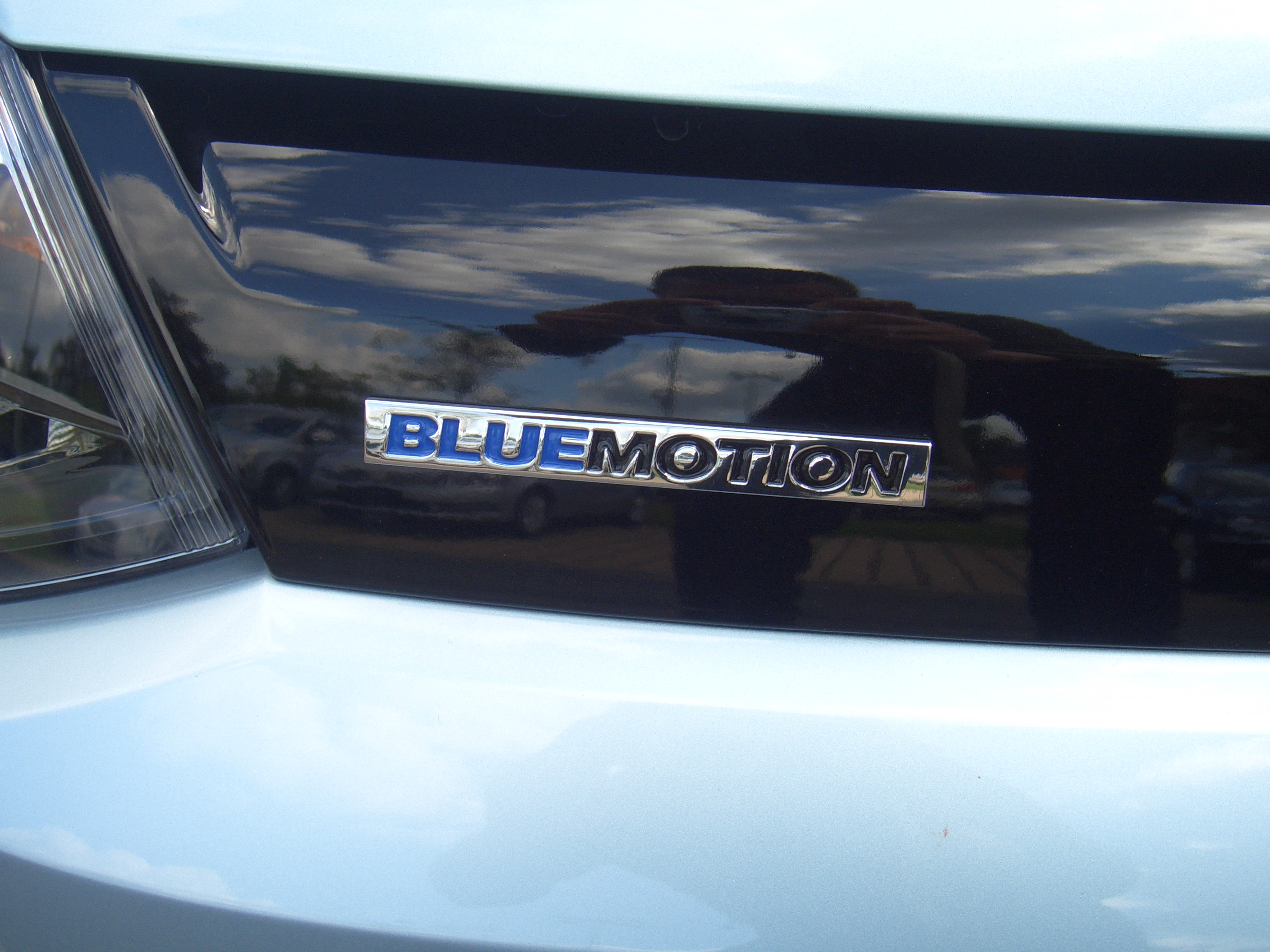 Close-up of VOlkswagen BlueMotion badge on the rear of a VW Polo