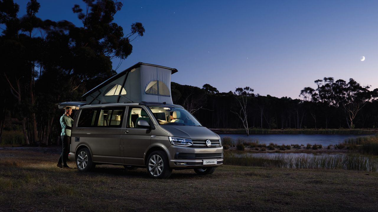 VW California campervan in countryside at night
