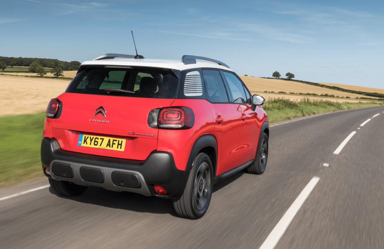 Citroen C3 Aircross driving from the rear