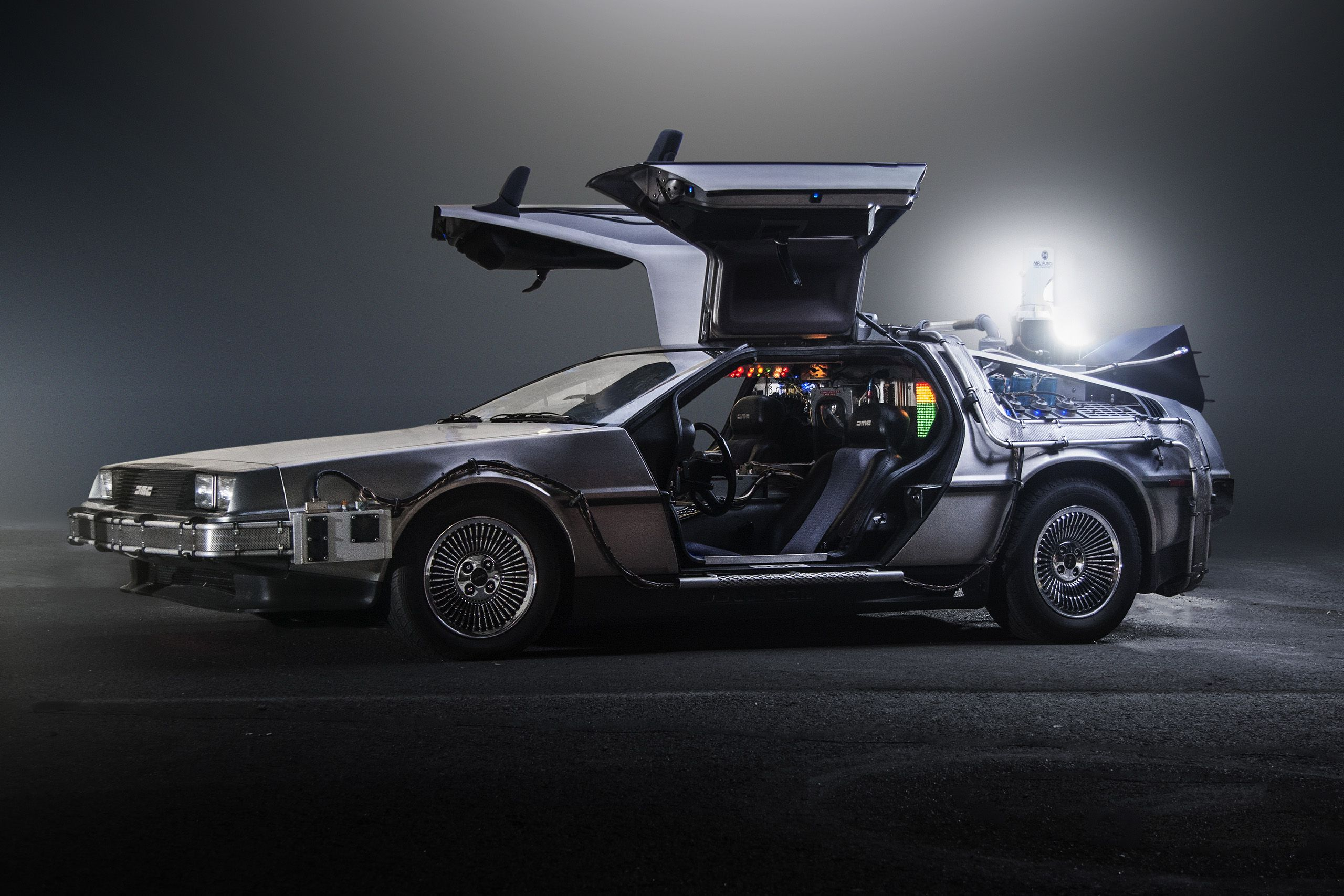 The DeLorean motor car from Back to the Future